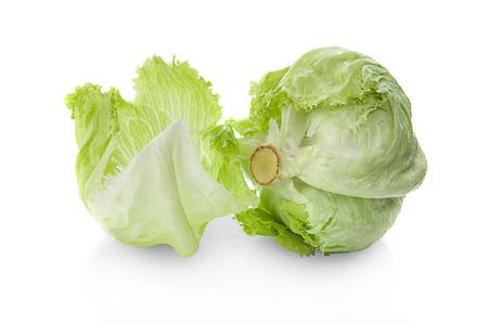 Green Iceberg lettuce on White Background Zdjęcie Seryjne - 122764376
