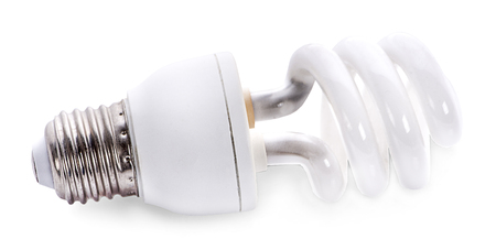 close up of a white light bulb on white background with clipping path