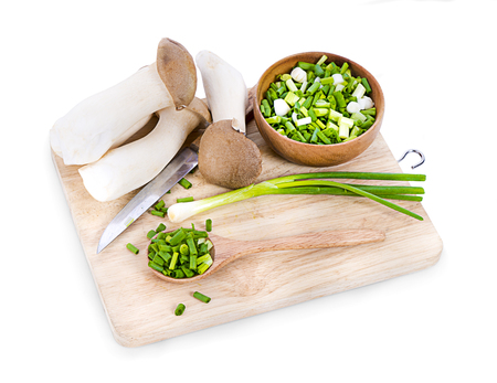 chopped green onions on white Zdjęcie Seryjne
