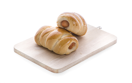 Sausage in dough .Isolated on white background