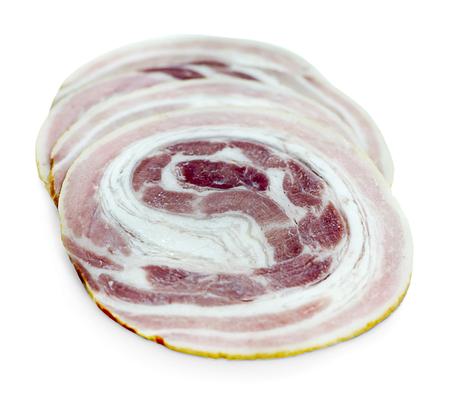Sliced ham on white background. Pork ham sliced on white background