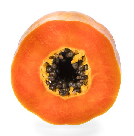 slices of sweet papaya on white background Banco de Imagens