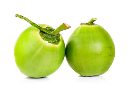 green coconut an isolated on white background Archivio Fotografico