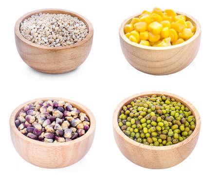 Cereal grains , seeds, beans on wooden background Banco de Imagens