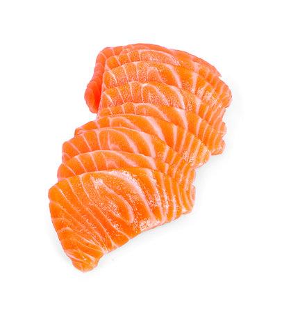 salmon fish fresh meat slice isolated on white background.