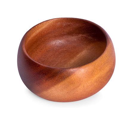 wooden bowl on white background Stock Photo