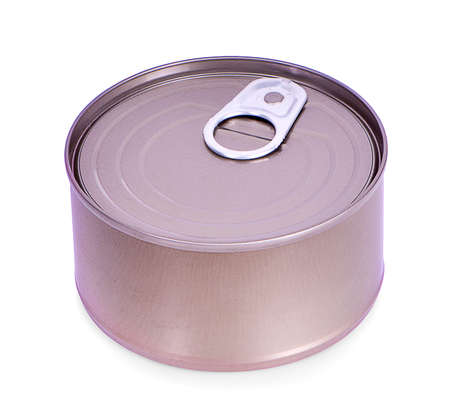 Close-up various metal and white tin can on white background Stock Photo