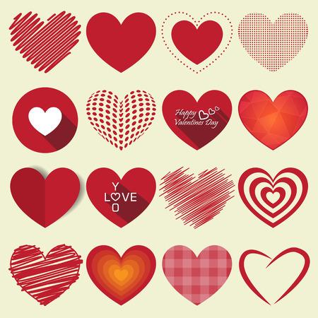 cuore: Cuore di San Valentino set di icone illustrazione vettoriale Vettoriali