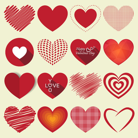 valentine married: Heart valentine icon set vector illustration