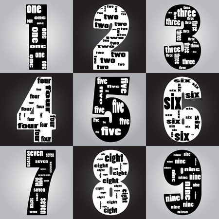 numerical code: typographic of number Illustration