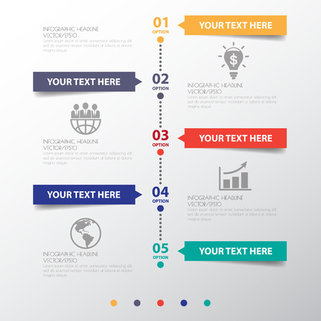 Circle Design clean number timeline template/graphic or website . Stock Illustratie