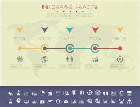 Colour StepDesign flat long shadow clean number timeline templategraphic or website.Vectorillustration. Vector