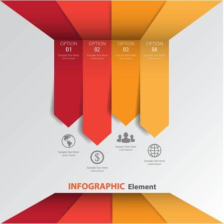 3D 최소한의 화살표 기호 infographics입니다. 일러스트