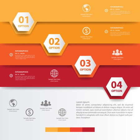beat brochure: Design multicolour number banners templategraphic or website. Illustration