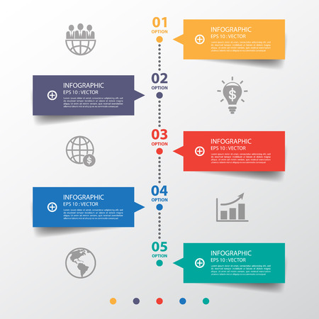 Design clean number banners timeline/graphic or website.Vector eps10.