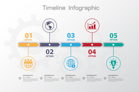 Long Shadow Design clean number timeline templategraphic or website Ilustracja