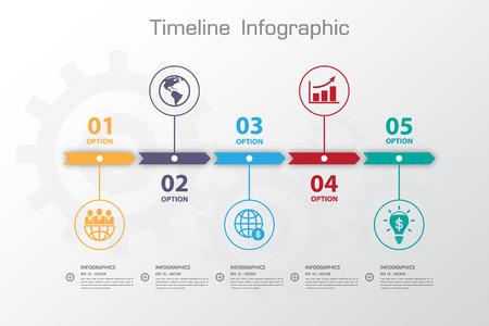 Long Shadow Design template nombre propre timeline / graphique ou site web Banque d'images - 35995894