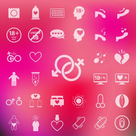 sexo femenino: Sexo conjunto de iconos en el desenfoque de fondo de color rosa. Vectores