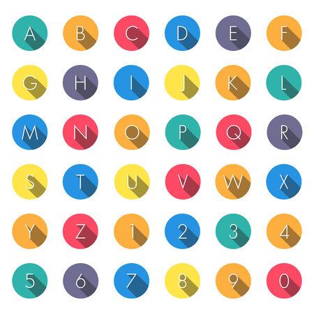 numbers: Flat icons alphabet on white background Illustration