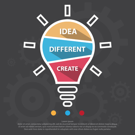 Step design of Three part light bulb infographic element. Vector