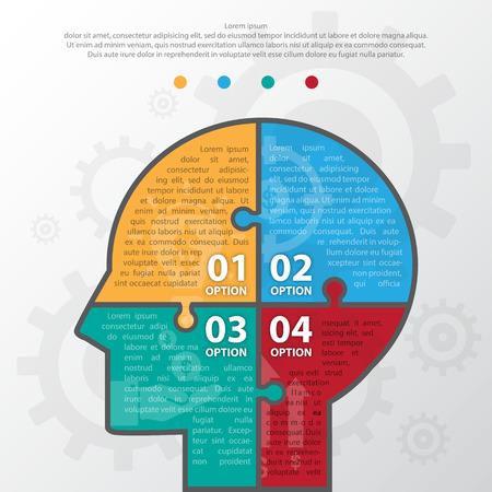 icon the idea: Step design of four part human idea infographic element.