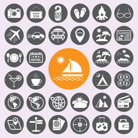 Travel and vacation icons set.