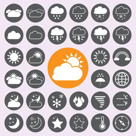 clima: Iconos del tiempo fijados. Vectores