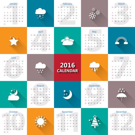 estado del tiempo: 2016 plantilla de calendario con el tiempo icon.Vector  ilustración. Vectores