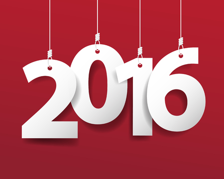 happy newyear: Vector Modern red simple Happy new year 2016 card with a long shadow effect .Vectorillustration.