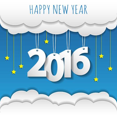 행복 한 새 해 2016 구름과 하늘 배경입니다. 벡터  그림입니다.