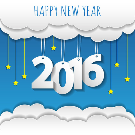 Happy new year 2016 cloud and sky background .Vector/illustration. Stock Illustratie