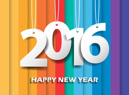 happy newyear: Happy new 2016 year. Greetings card. Colorful design. Vector illustration