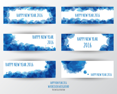 happy new year banner: Watercolor 2016 Happy New Year banner background.vector.