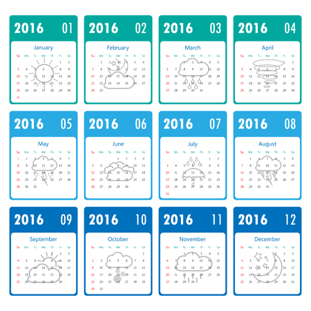 looseleaf: 2016 Modern calendar template .Vectorillustration. Illustration