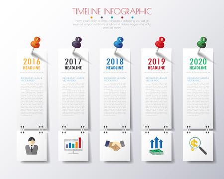 timeline infographics with icons set. Stock Illustratie