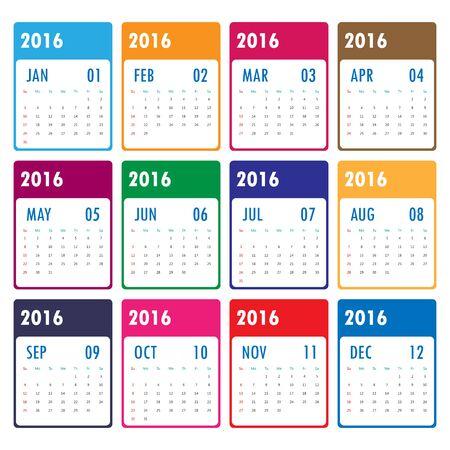 ed: 2016 Modern calendar template .Vectorillustration. Illustration
