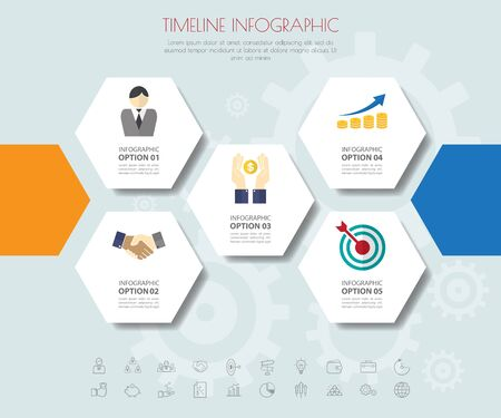 mixture: hexagon infographics with icons set.