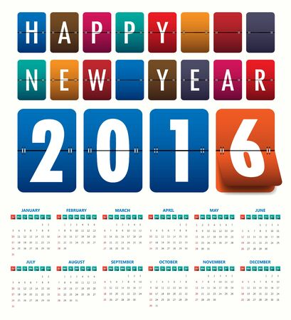 2016 mechanical timetable calendar template .Vector Illustration