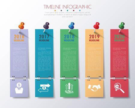 종이 타임 라인 infographics 아이콘을 설정합니다.
