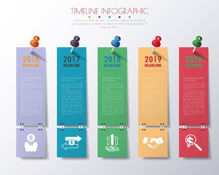 web template: paper timeline infographics with icons set.
