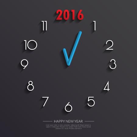 2016 Clock face Background.Vectorillustration. Illustration