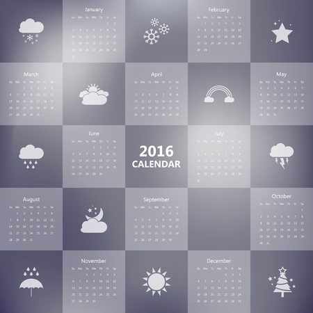 looseleaf: 2016 calendar template with weather icon.Vectorillustration. Illustration