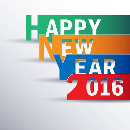 new year's: Happy new 2016 year. Greetings card. Colorful design. Vector illustration