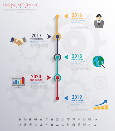design icon: timeline infographics with icons set. vector. illustration.
