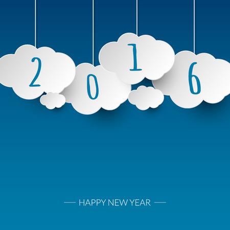 행복 한 새 해 2016 구름과 하늘 배경입니다. 벡터 일러스트 레이 션. 일러스트