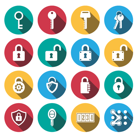 Flat long shadow keys Lock vector icons