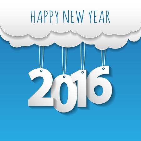 nowy: Szczęśliwego nowego roku 2016 chmury i niebo w tle .Vectorillustration.