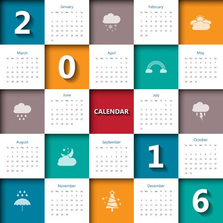 2016 calendar template with weather icon.Vectorillustration. Illustration