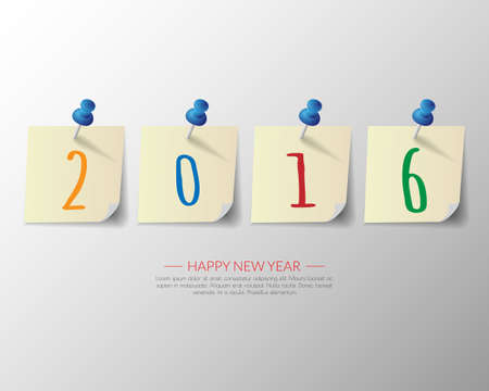 pin board: 2016 Happy New Year pin board background.vector. Illustration