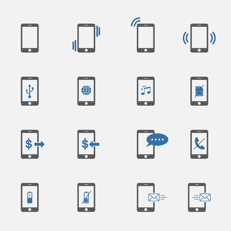 miss call: two tone phone symbol icons set.vector.illustration